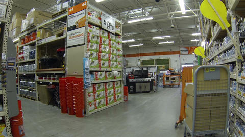 Hardware store shelves products lights HD 011 Footage
