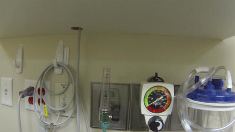Hospital medical equipment on wall pan HD 043 Footage