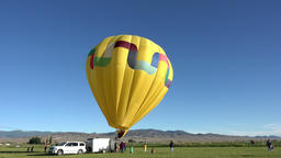 Hot air balloon yellow ready for takeoff launch 4K 048 Footage