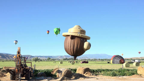 Hot air balloons landing in rural farm field 4K 069 Footage