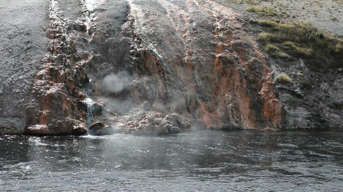 Hot springs into river P HD 2987 Footage