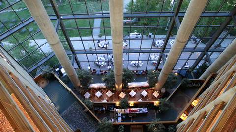 Hotel Atrium from top down P HD 0568 Footage