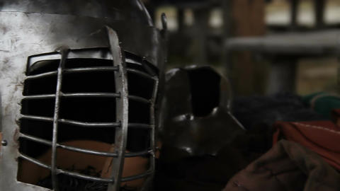 Medieval knight's steel helmet and armour prepared for military campaign Footage