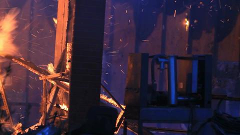 House burns sparks P HD 7918 Footage