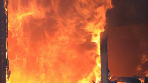 House fire flames intense slow HD Footage