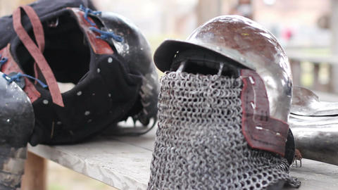 Rainy day at medieval military camp, knight's armour suit ready for final battle Footage