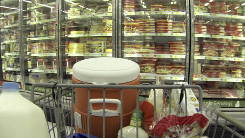 Housewife shopping frozen food grocery store POV HD 032 Footage