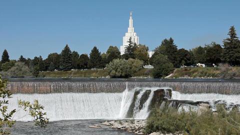 Idaho Falls LDS Temple spillway P HD 2287 Footage