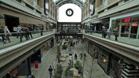Inside luxury shopping mall holiday fast timelapse HD 0234 Footage