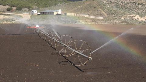 Irrigation sprinklers farm rainbow 4K 002 Footage