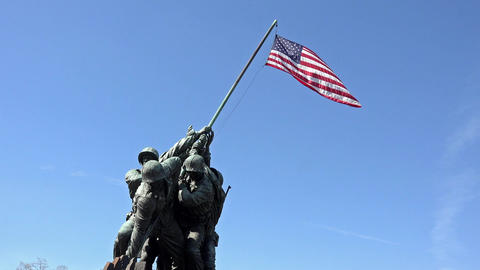 Iwo Jima Memorial Marine Corp close flag Washington DC 4K 039 Footage