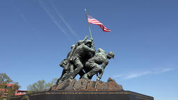 Iwo Jima Memorial Marine Corp flag Washington DC 4K Footage