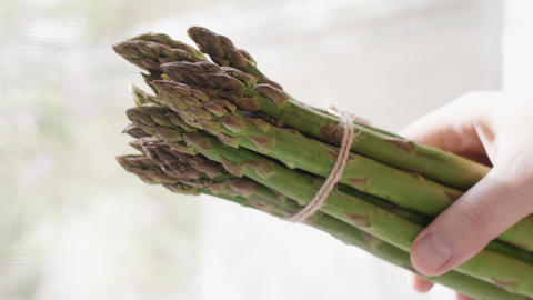 A bunch of young organic green asparagus in the young farmer's hand Live Action