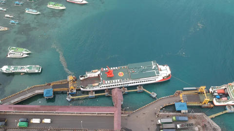 panorama of the camera over the port Padang Bai port visible large transport Live Action
