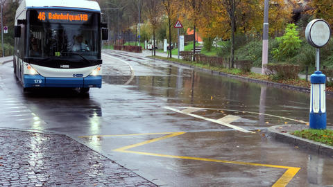 Bus in a rainy morning in Zurich Live Action