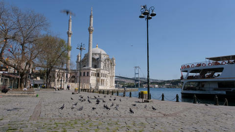Ortakoy square, one of the most historical and touristic places in Istanbul remain quite due to Live Action