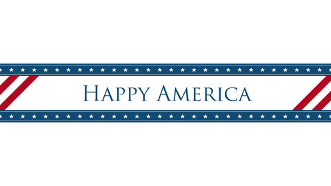 Animated closeup text Happy America on holiday background, Independence Day of USA CG動画