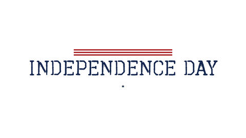 Animated closeup text Independence Day of USA on holiday background Animation