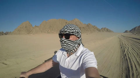 Quad trip on african desert of Egypt Live Action