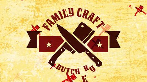 army style community handiwork killing associate identity with butcher cutlery crossed under west Animation