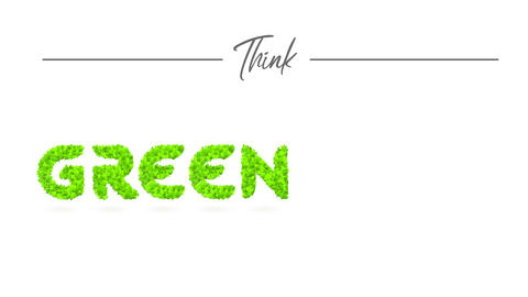 ponder green publicity with green vegetation forming words representing development of biodegradable Animation