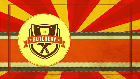 retro fancy butchery store package cover with paper texture sunbeam and dagger crossed on Animation