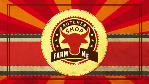 red cow head inside wavy edge circle vintage presentation idea for farm meat butcher shop Animation