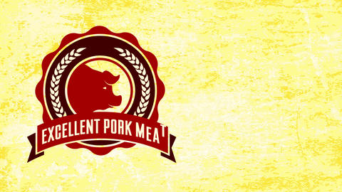 excellent pork meat advertising for butcher shop curve emblem with rippled border over aged paper Animation