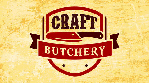 craft butchery custom emblem with knife in the center representing quality primal cut of meat and Animation
