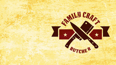service style family work butchery corporate individuality with butcher cutlery crossed under west Animation
