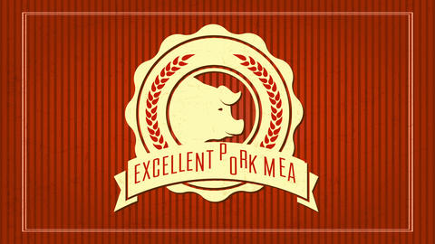 butcher shop selling excellent pork meat with elegant rounded ornamented icon around a pigs head Animation