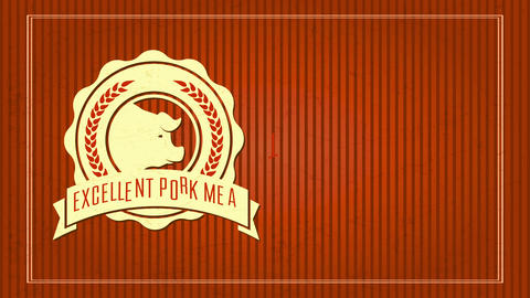 butcher shop selling excellent meat meat with elegant rounded decorated icon surrounding a pigs head Animation