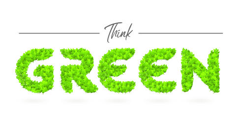 think green publicity with green forest creating words representing development of biodegradable Animation