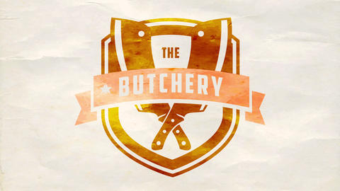 the butchery red meat manufacturer using right processing standards publicity with golden emblem Animation