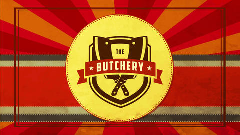 retro style butchery shop package cover with paper texture sunburst and knives crossed on Animation