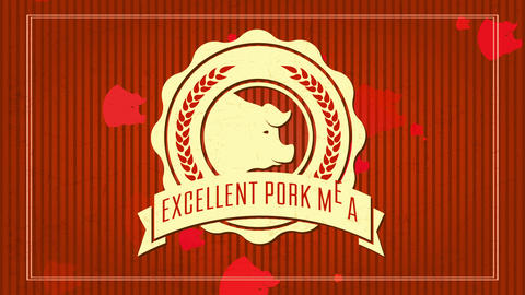 butcher shop selling excellent pig meat with stylish round ornate icon around a swine head over Animation