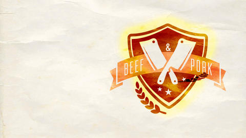 cattle and meat hamburger perfect wrapping cardboard template show with individual insignia over Animation