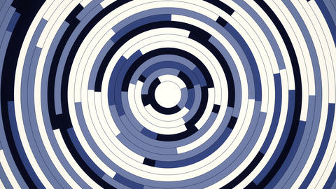 Rotating blue and white future concentric slices circle 4k background loop Animation