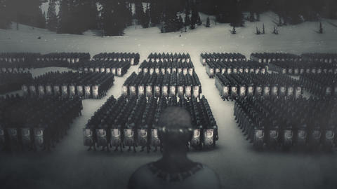 Roman Emperor in Front of His Massive Army in Formation Live Action