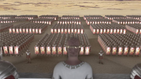 A Roman Emperor Looking at A legion in a Formation Live Action