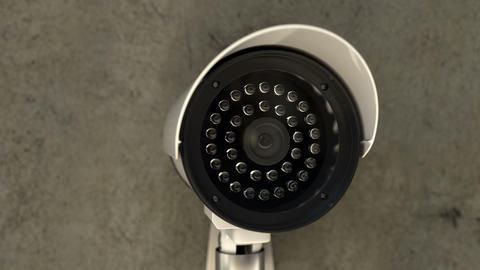 Security CCTV camera rotates and scanning area for surveillance purposes Animation