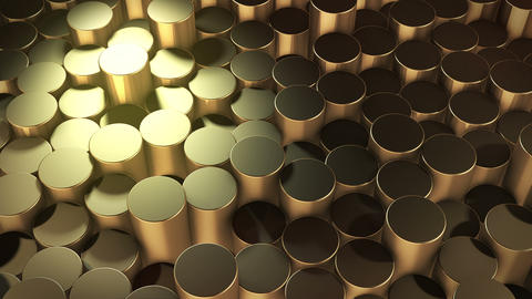 Abstract cylindrical geometric gold surfaces in virtual space Animation