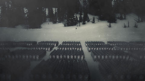 Roman Legion in Battle Formation Standing in the Snow Live Action