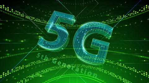 5G Digital Network technology 5th generation mobile communication concept background 2 N2 green 4k Animation