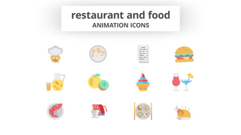 Restaurant & Food - Animation Icons 모션 그래픽 템플릿