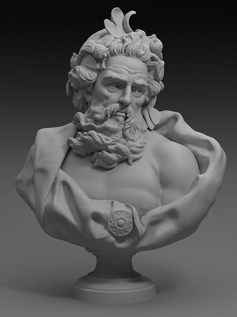 Bust of Neptune 3D Model