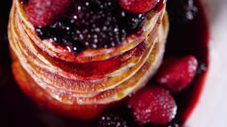 Breakfast Food, Tasty Pancakes with Sweet Berry Syrup, Stack of Pancakes in Jam Live Action
