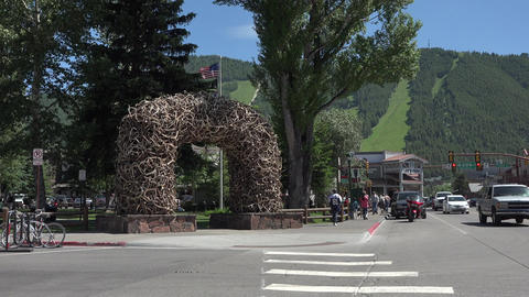 Jackson Hole Wyoming Elk Arch main city street traffic 4K Footage