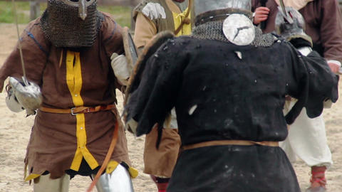 Brave knight challenging rival to fight, two men reenacting medieval tournament Footage