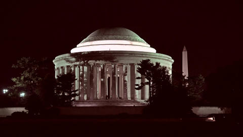 Jefferson Monument night Washington Monument 4K 011 Footage